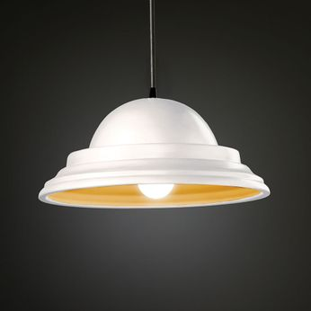 Justice Design CER-6205-MTGD Radiance Classic Modern Matte White with Champagne Gold LED Ceramic Pendant Lamp