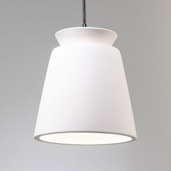 Justice Design CER-6425-BIS Radiance Small Trapezoid Contemporary Bisque LED Mini Ceramic Hanging Pendant Light