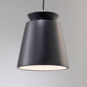 Justice Design CER-6425-CRB Radiance Small Trapezoid Contemporary Carbon Matte Black LED Mini Ceramic Pendant Hanging Light