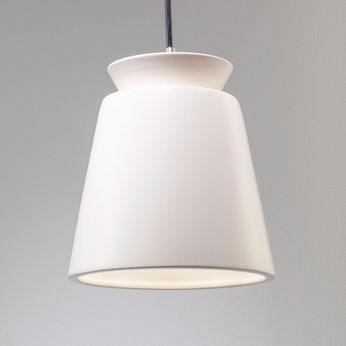 Justice Design CER-6425-MAT Radiance Small Trapezoid Modern Matte White LED Mini Ceramic Hanging Light Fixture