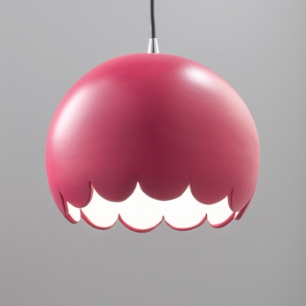Justice Design CER-6470-CRSE Radiance Scallop Contemporary Cerise LED Mini Ceramic Lighting Pendant