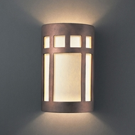 Justice Design CER-7345W-ANTC Ambiance Small Prairie Window Modern Antique Copper LED Outdoor Ceramic Wall Lamp