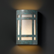 Justice Design CER-7485W-PATV Ambiance Small Craftsman Window Contemporary Verde Patina LED Exterior Ceramic Sconce Lighting
