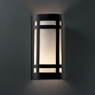 Justice Design CER-7495W-CRB Ambiance Large Craftsman Window Modern Carbon Matte Black LED Outdoor Ceramic Lighting Sconce