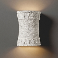 Justice Design CER-7900-BIS Tuscan Garden Hourglass Cylinder Contemporary Bisque LED Ceramic Lamp Sconce