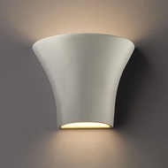 Justice Design CER-8810-BIS Ambiance Small Round Flared Contemporary Bisque LED Ceramic Wall Light Fixture