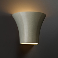 Justice Design CER-8810-CKC Ambiance Small Round Flared Contemporary Celadon Green Crackle LED Ceramic Lighting Wall Sconce