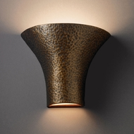 Justice Design CER-8811W-HMBR Ambiance Large Round Flared Contemporary Hammered Brass LED Outdoor Ceramic Wall Sconce Lighting