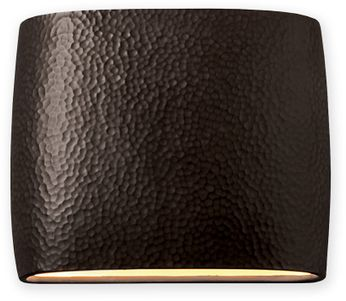 Justice Design CER-8850-HMIR Ceramic Ambiance Modern Hammered Iron LED 12 Lighting Wall Sconce