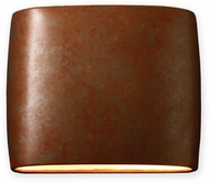 Justice Design CER-8850W-PATR Ambiance Contemporary Rust Patina LED Exterior 12  Wall Lighting Fixture