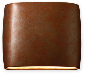 Justice Design CER-8850W-PATR Ceramic Ambiance Contemporary Rust Patina LED Exterior 12 Wall Lighting Fixture