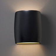 Justice Design CER-8857W-CRB Ambiance Small Wide Cylinder Modern Carbon Matte Black LED Outdoor Ceramic Wall Lamp
