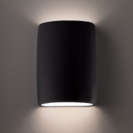 Justice Design CER-8858W-CRB Ambiance Large Wide Cylinder Modern Carbon Matte Black LED Outdoor Ceramic Lamp Sconce