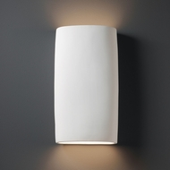 Justice Design CER-8859-BIS Ambiance Wide Cylinder Contemporary Bisque LED Ceramic Wall Light Fixture