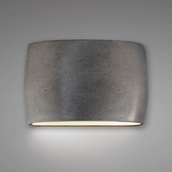 Justice Design CER-8898-ANTS Ambiance Wide Large Oval Contemporary Antique Silver LED Ceramic Wall Lighting Sconce