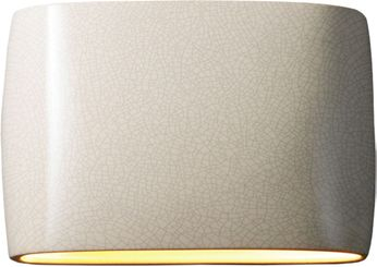 Justice Design CER-8898-CRK Ceramic Ambiance Contemporary White Crackle LED 16 Wall Lamp