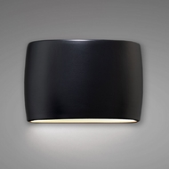 Justice Design CER-8898W-CRB Ambiance Wide Large Oval Contemporary Carbon Matte Black LED Outdoor Ceramic Wall Light Sconce