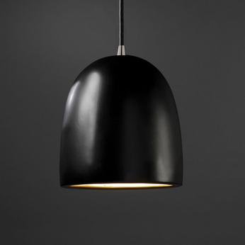 Justice Design CER-9615-CRB Radiance Large Bell Modern Carbon Matte Black LED Mini Ceramic Pendant Light