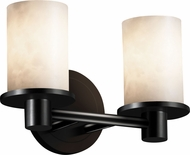 Justice Design CLD-8512-10 Clouds Rondo Contemporary Cylinder 2-Light Bathroom Wall Sconce