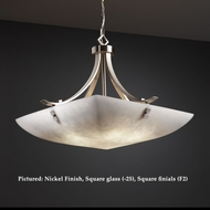 Justice Design CLD-9752 Flat Bars Transitional Large 30 Inch Diameter Cloud Glass Bowl Pendant Light