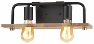 Justice Design ECO-8392-WOOD-MBLK Eco Loft Matte Black LED 2-Light Bathroom Light