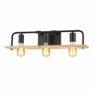 Justice Design ECO-8393-WOOD-MBLK Eco Loft Matte Black LED 3-Light Bathroom Lighting Fixture