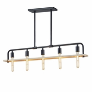 Justice Design ECO-8469-WOOD-MBLK Eco Loft Matte Black Kitchen Island Light Fixture
