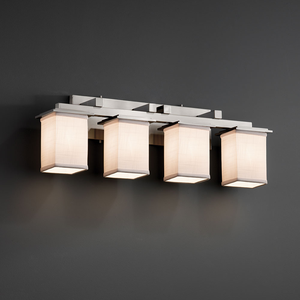Justice Design FAB 8674 Montana Textile 4 Light Bathroom Vanity Light  Fixture. Loading Zoom
