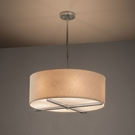 Justice Design FAB-9522 Crossbar Textile Drum Ceiling Pendant Light