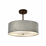 Justice Design FAB-9591-GRAY Textile Classic 18  Drum Pendant Light Fixture