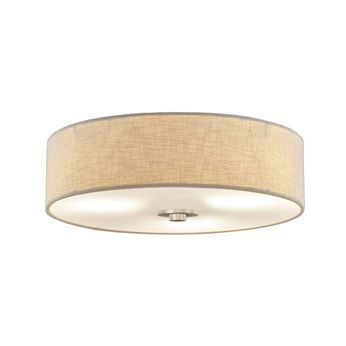 Justice Design FAB-9595-CREM-NCKL Textile Classic Brushed Nickel Flush Mount Ceiling Light Fixture