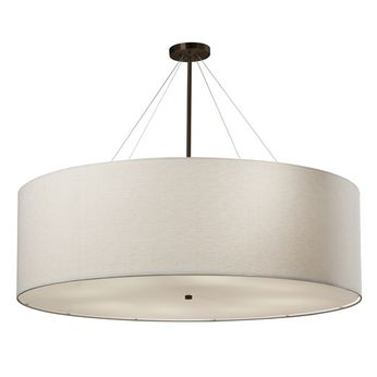 Justice Design FAB-9597-WHTE Textile Classic Drum Drop Ceiling Light Fixture