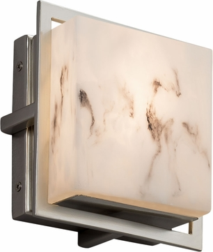 Justice Design FAL-7561W-NCKL LumenAria Avalon Contemporary Brushed Nickel LED Outdoor Square Lamp Sconce