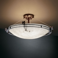 Justice Design FAL-8112 LumenAria� Faux Alabaster 28  Wide Flush Mount Ceiling Light Fixture
