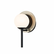Justice Design FSN-4221-OPAL-MBBR Fusion Halo Contemporary Matte Black w/ Brass Ring Sconce Lighting