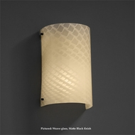 Justice Design FSN-5542 Finials Curved 12 Inch Tall Transitional Wall Light Fixture - Weave Glass