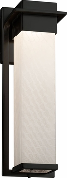 Justice Design FSN-7544W-WEVE-MBLK Fusion Pacific Modern Matte Black LED Exterior Large Wall Mounted Lamp