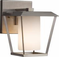 Justice Design FSN-7551W-10-OPAL-NCKL Fusion Patina Contemporary Brushed Nickel Outdoor Small Wall Light Fixture