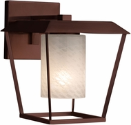Justice Design FSN-7554W-10-WEVE-DBRZ Fusion Patina Contemporary Dark Bronze Outdoor Large Wall Lamp