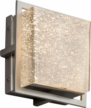 Justice Design FSN-7561W-MROR-NCKL Fusion Avalon Modern Brushed Nickel LED Exterior Square Lamp Sconce