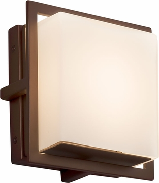 Justice Design FSN-7561W-OPAL-DBRZ Fusion Avalon Contemporary Dark Bronze LED Outdoor Square Wall Sconce Lighting