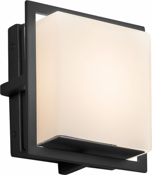Justice Design FSN-7561W-OPAL-MBLK Fusion Avalon Modern Matte Black LED Exterior Square Wall Light Fixture