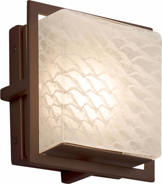 Justice Design FSN-7561W-WEVE-DBRZ Fusion Avalon Modern Dark Bronze LED Exterior Square Wall Lighting Sconce