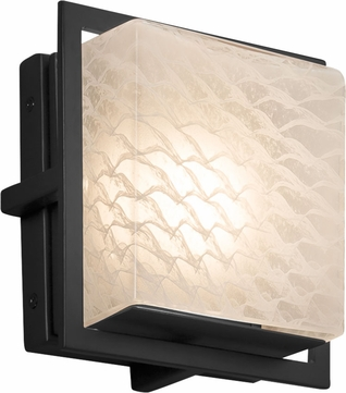 Justice Design FSN-7561W-WEVE-MBLK Fusion Avalon Contemporary Matte Black LED Outdoor Square Wall Sconce Lighting