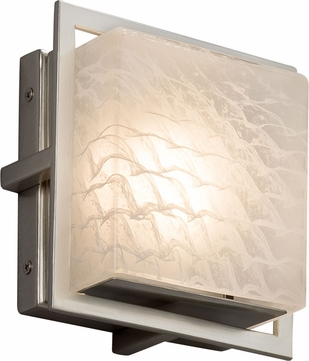 Justice Design FSN-7561W-WEVE-NCKL Fusion Avalon Modern Brushed Nickel LED Exterior Square Wall Mounted Lamp
