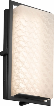 Justice Design FSN-7562W-WEVE-MBLK Fusion Avalon Modern Matte Black LED Exterior Small Sconce Lighting