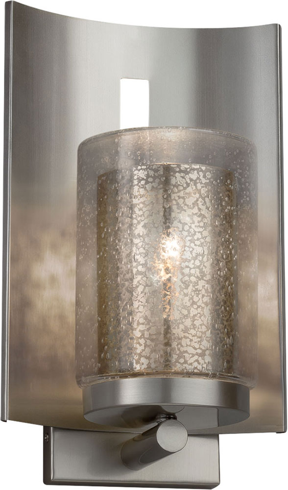 Justice Design Fsn 7591w 10 Mror Nckl Fusion Embark Contemporary Brushed Nickel Outdoor Lamp Sconce