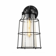 Justice Design FSN-7684W-SEED-MBLK Fusion Zuma Contemporary Matte Black LED Outdoor Wall Sconce Lighting