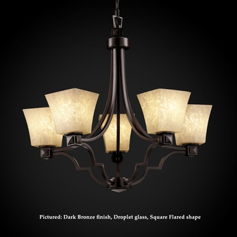 Justice Design FSN-8500 Argyle 5 Lamp 27 Inch Diameter Fusion Glass Chandelier Light