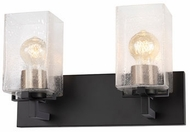 Justice Design FSN-8942-15-SEED-MBBR Fusion Vice Contemporary Matte Black w/ Brass Socket Cover LED 2-Light Vanity Light Fixture